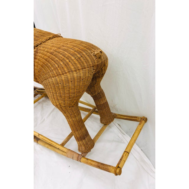 Vintage Wicker & Rattan Rocking Horse For Sale - Image 9 of 12