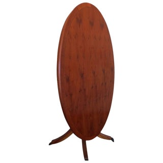 Vintage English Yew Wood Inlaid Tilt Top Parlor Table For Sale