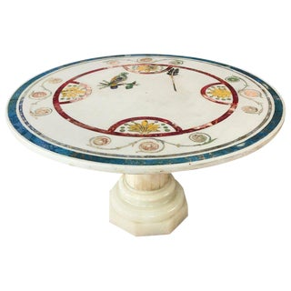 Italian Round Painted Inlay Marble Table For Sale