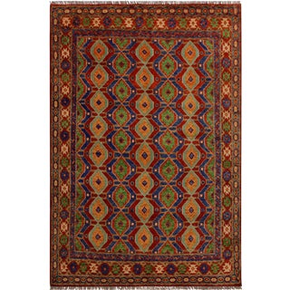 """Balouchi Annabell Red/Blue Wool Rug - 4'11"""" X 6'10"""" For Sale"""