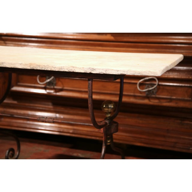 Metal 19th Century French Iron Bistrot Table With Stone Top and Bronze Mounts For Sale - Image 7 of 8