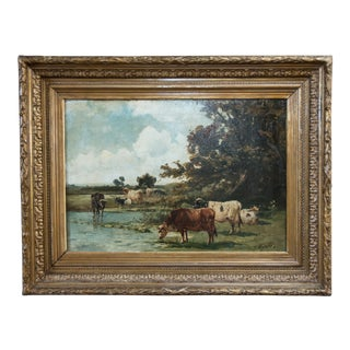 Large Antique Landscape With Cattle Watering Oil Painting For Sale