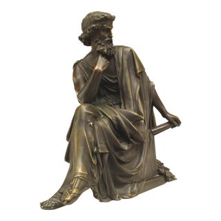Bronze Grecian Seated Man With a Beard Wearing a Toga Figure For Sale