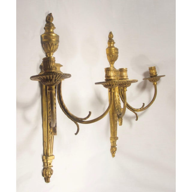 Antique French Empire Torche Bronze Sconces - a Pair For Sale - Image 4 of 6