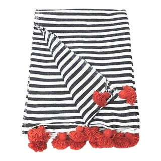 Striped Cotton Pom Pom Blanket For Sale