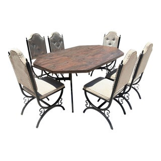Mid Century Modern Spanish Style Dining Room Set - 7 Pieces For Sale