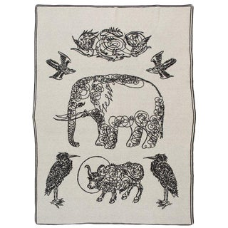 "Elephants & Friends Cashmere Blanket, 51"" x 71"" For Sale"
