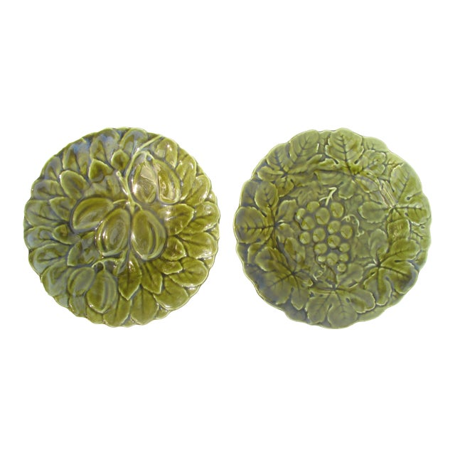 French Majolica Plates, Pair For Sale