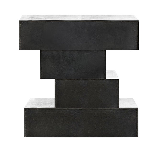 Nightstand - Solid Blackened Steel For Sale