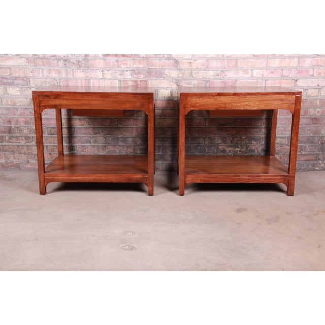 Edward Wormley for Drexel Precedent Mid-Century Modern Nightstands or End Tables, Newly Refinished For Sale - Image 11 of 13