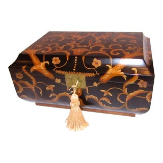 Asian Modern Black and Gold Wood Tabletop Box