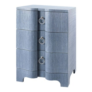 Bungalow 5 Bardot 3-Drawer Side Table, Navy Blue Lacquered Grasscloth For Sale