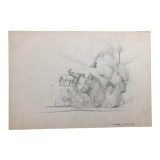 American Scene Drawing of Horses by William Palmer 1926 For Sale