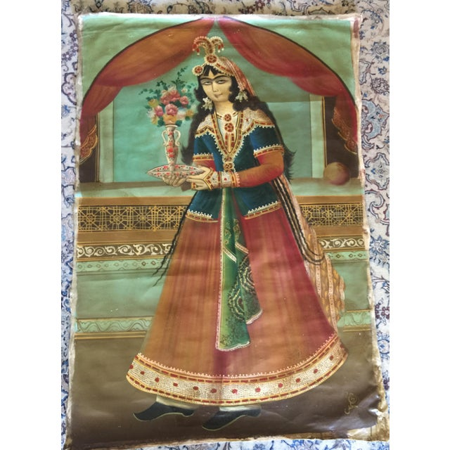 Antique Early 20th Century Persian Qajar Tea House Oil Painting on Canvas For Sale - Image 12 of 12
