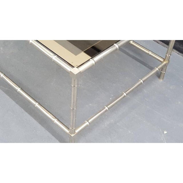 Faux Bamboo Chrome-Plated Cocktail Table with Smoked Glass Top For Sale - Image 4 of 5