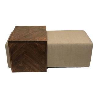 Nesting Ottoman Footstool Bench With Wood Side Table - a Pair For Sale