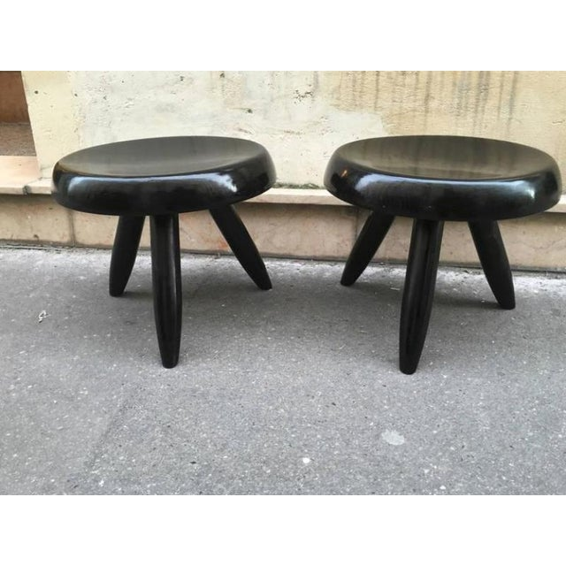 Charlotte Perriand Charlotte Perriand Rare Genuine Pair of Black Tripod Stools For Sale - Image 4 of 4