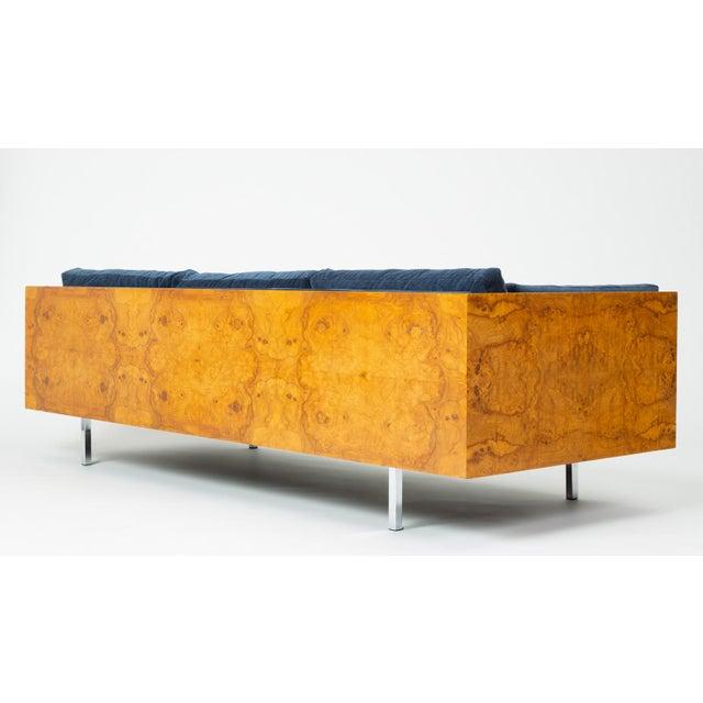 Metal Milo Baughman Burl Wood Case Sofa for Thayer Coggin For Sale - Image 7 of 13