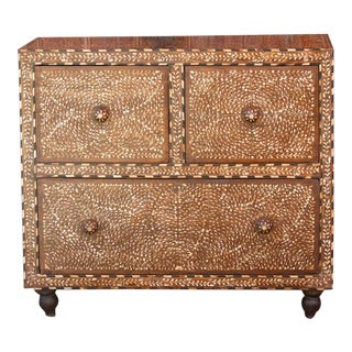 Anglo Indian Bone Inlay Three Drawer Dresser For Sale