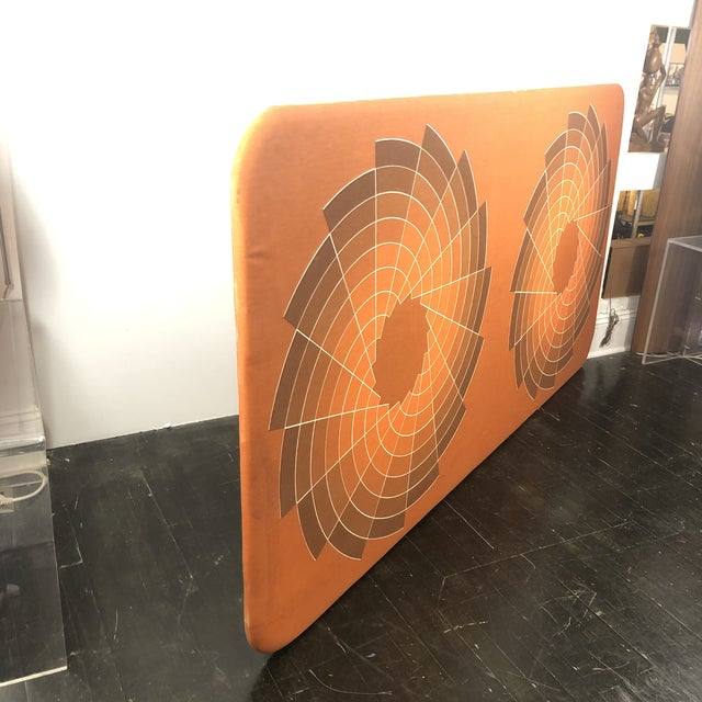 1960s Large Textile Optic Art Upholstered Panel For Sale - Image 9 of 11