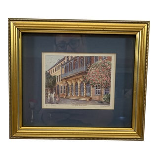 """Late 20th Century Vintage """"The Dock Street Theatre"""" Charleston, South Carolina Signed Jeanie Drucker For Sale"""