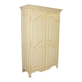 Ethan Allen Country French Cream Painted Armoire For Sale