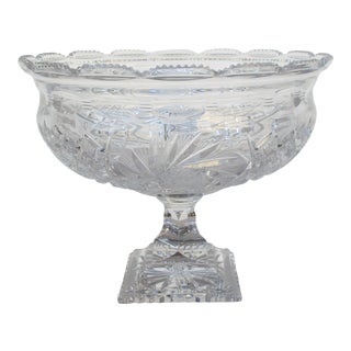 Large Brilliant Period Cut Crystal Bowl For Sale