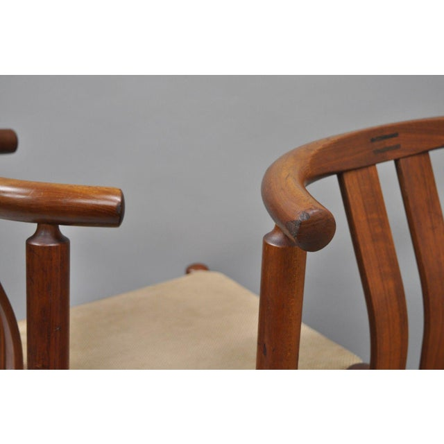 Uldum Danish Modern Teak Curved Back Rosewood Inlay Dining Chairs - Set of 6 For Sale In Philadelphia - Image 6 of 12