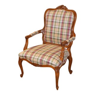 Ethan Allen Country French Style Plaid Chair
