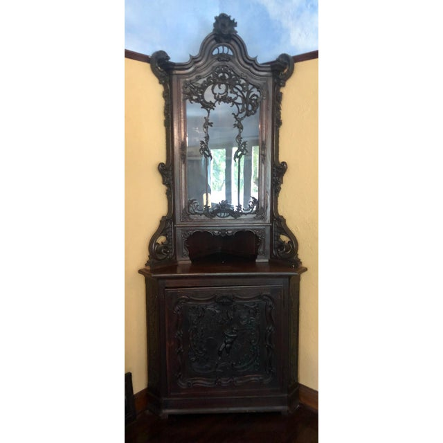 Early 19th Century Antique Carved Italian Corner Cabilet W Cupid Door For Sale - Image 5 of 5