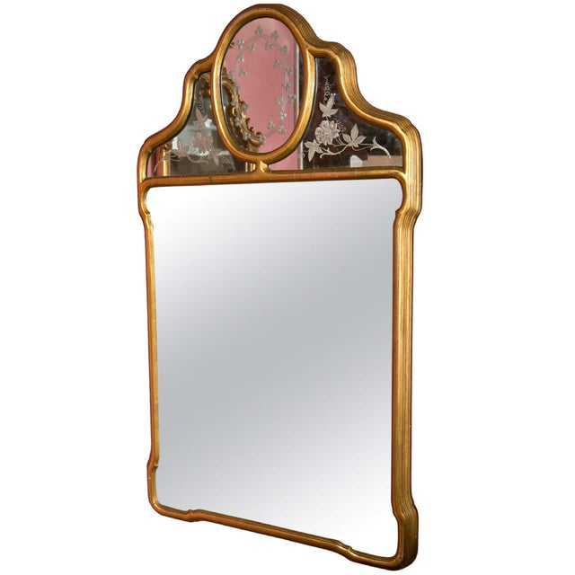 Hollywood Regency Style Giltwood Mirror With Etched Floral and Clover Design For Sale