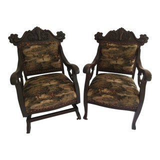 20th Century Rococo Revival Mahogany Carved Chair and Rocker - 2 Pieces For Sale
