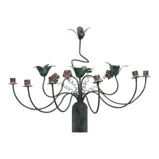 Polychrome Wall Lights with Springy Flowers For Sale