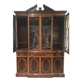 Council Craftsmen Inlaid Mahogany Breakfront Cabinet For Sale
