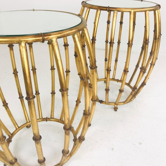 Pair of Gold Faux Bamboo Drum Side Tables With Mirrored Tops For Sale - Image 4 of 12