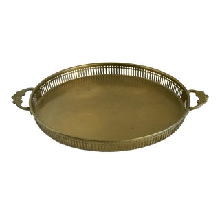 Vintage Floral Handled Brass Tray