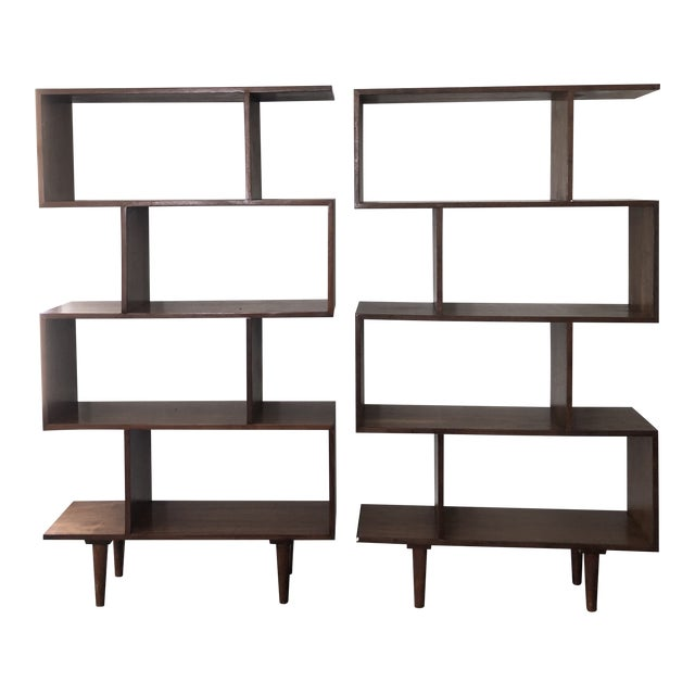 Mid Century Modern Walnut Bookshelves - A Pair For Sale