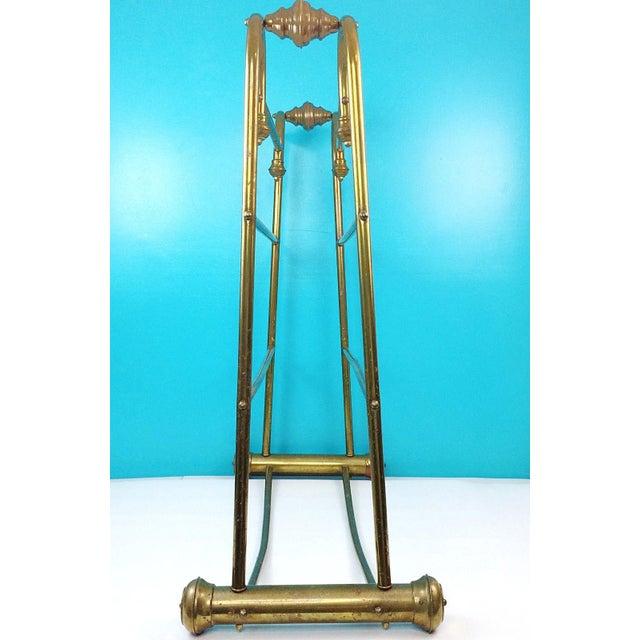 Hollywood Regency Brass Towel Quilt Floor Stand Rack - Image 4 of 6