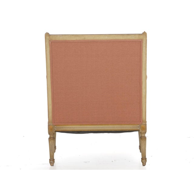 French Louis XVI Style Pink Upholstered Painted Arm Chair Circa 1940s For Sale - Image 4 of 13