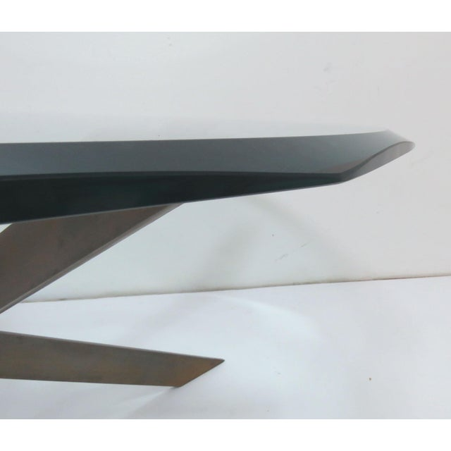 Transparent Leon Rosen for Pace Bronze X-Form Coffee Table For Sale - Image 8 of 10