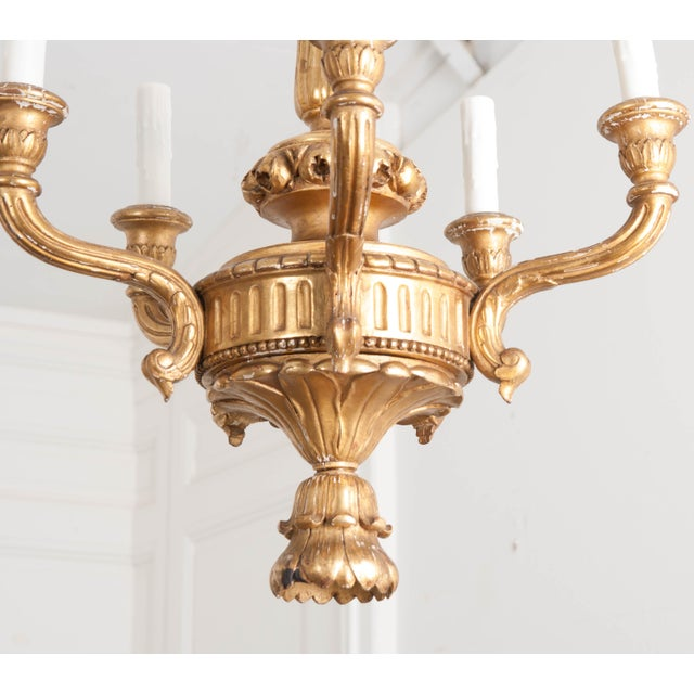 French 19th Century Louis XVI Style Giltwood Five-Light Chandelier For Sale - Image 4 of 9