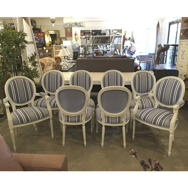 Blue & White Striped Cameo Chairs - Set of 8 - Image 3 of 10