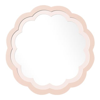 Fleur Home x Chairish Audobon Peony Circle Mirror in Pink Ground, 30x30 For Sale