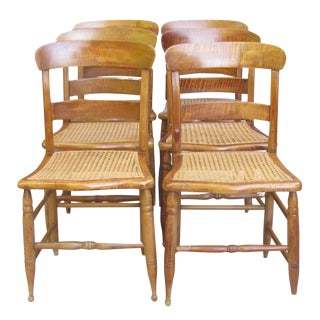 Antique Federal Maple Dining Chairs C. 1840, Set of 6