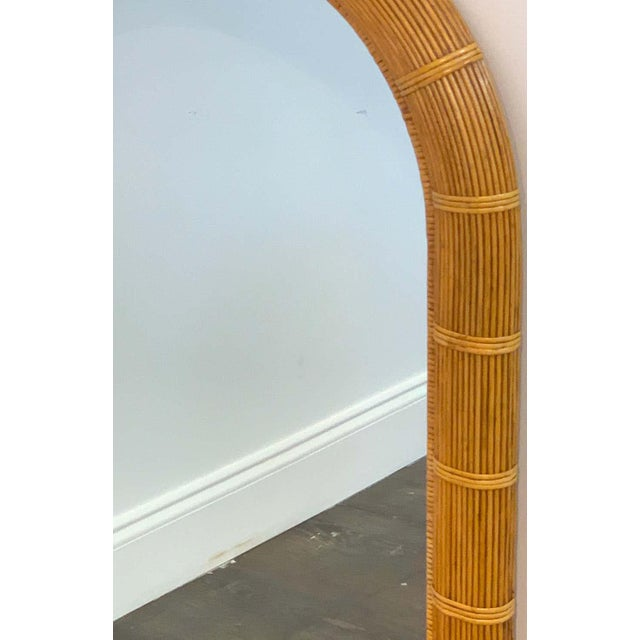 Midcentury Wrapped Pencil Reed Rattan Demilune Mirror For Sale In West Palm - Image 6 of 7