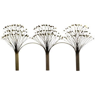 Mid-Century Modern Rare Jere Brass Three Tree Wall Sculpture Signed Dated 1970s For Sale