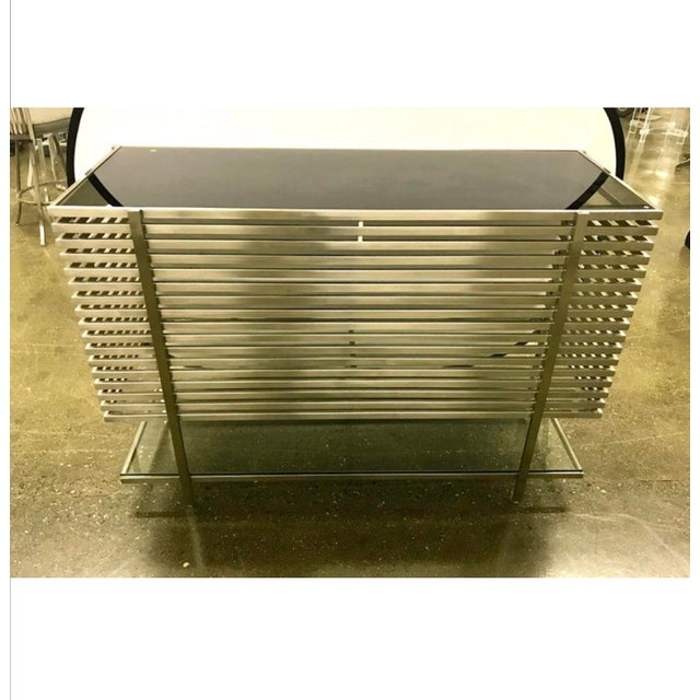 Silver Mid-Century Modern Style Laser Cut Steel, Glass and Chrome Dry Bar For Sale - Image 8 of 13
