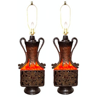 Vintage French Ceramic Table Lamps - Pair For Sale