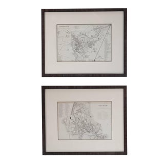Mid 19th Century Pair of Framed English Maps of Oxford and Cambridge For Sale