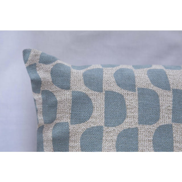 Modern Half Moon Patterned Blue Lumbar Pillow For Sale - Image 3 of 8